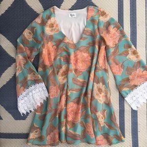 SMYM Magnolia Portabella Bell Sleeve Mini Dress